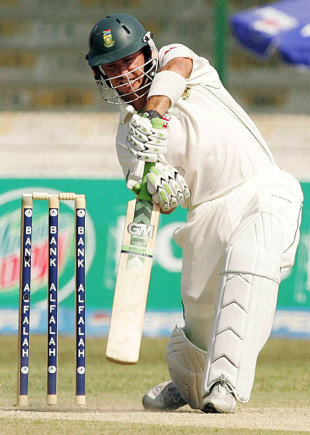 Herschelle Gibbs drives on his way to a half-century, Pakistan v South Africa, 1st Test, Karachi, 1st day, October 1, 2007