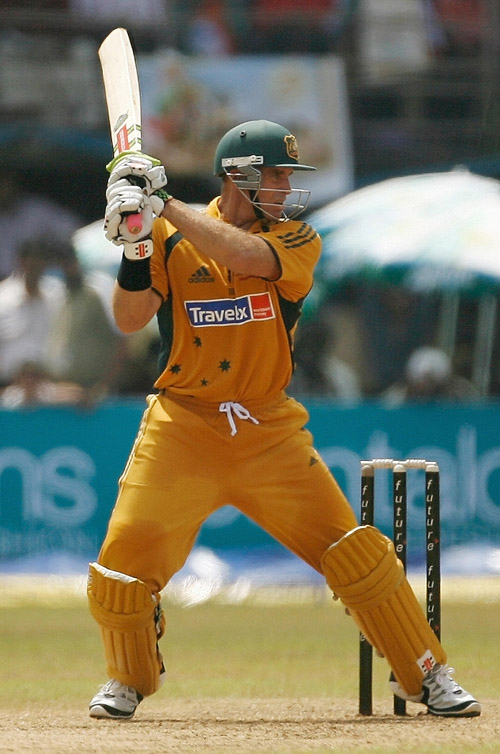 Matthew Hayden cuts during his knock of 75 Runs