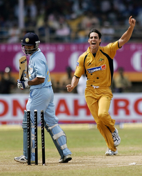 Gambhir is bowled by Mitchell Johnson