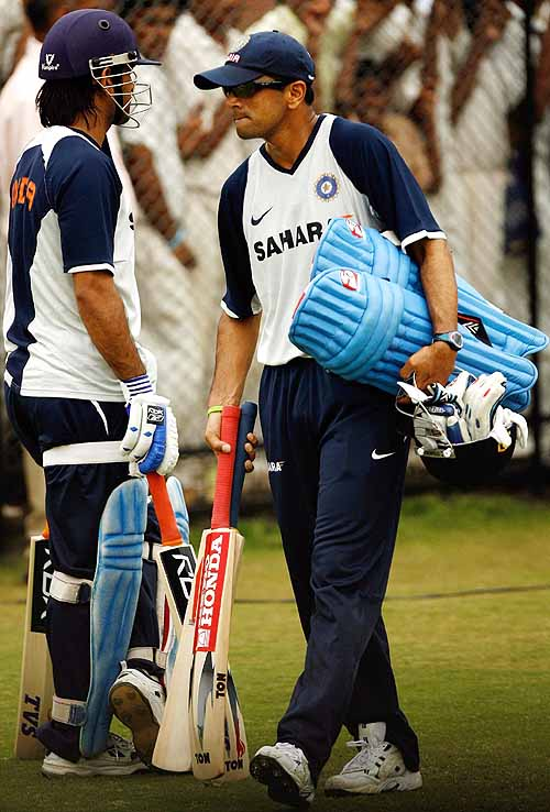 Rahul Dravid exits, while Mahendra Singh Dhoni awaits his turn in the nets, India v Australia ODI series, Rajiv Gandhi International Stadium, Hyderabad, October 4, 2007