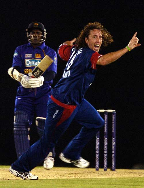 Ryan Sidebottom wheels away in jubilation after dismissing Sanath Jayasuriya, Sri Lanka v England, 2nd ODi, Dambulla, October 4, 2007