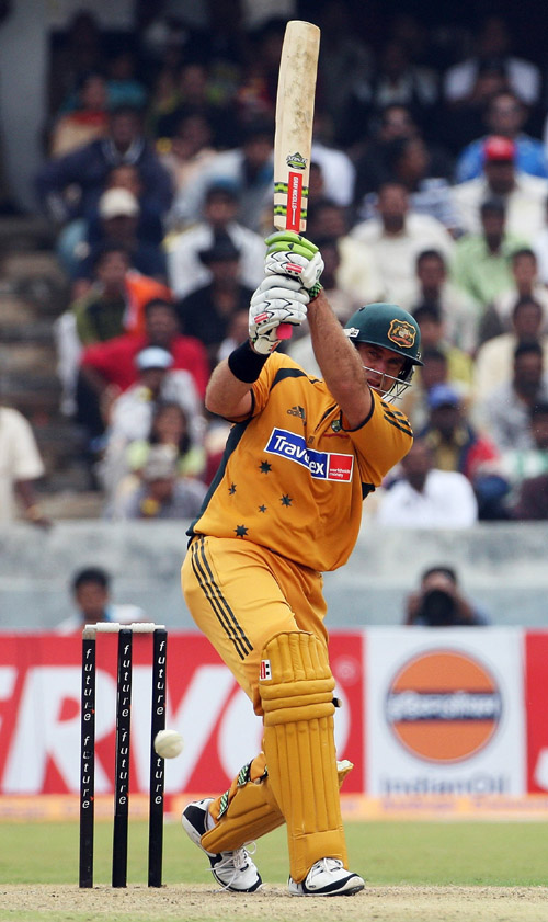 Matthew Hayden plays an on drive during his half-century, India v Australia, 3rd ODI, Hyderabad, October 5, 2007