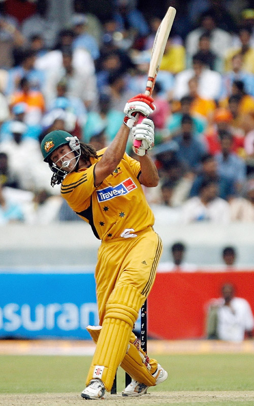 Andrew Symonds powers one over long-on, India v Australia, 3rd ODI, Hyderabad, October 5, 2007