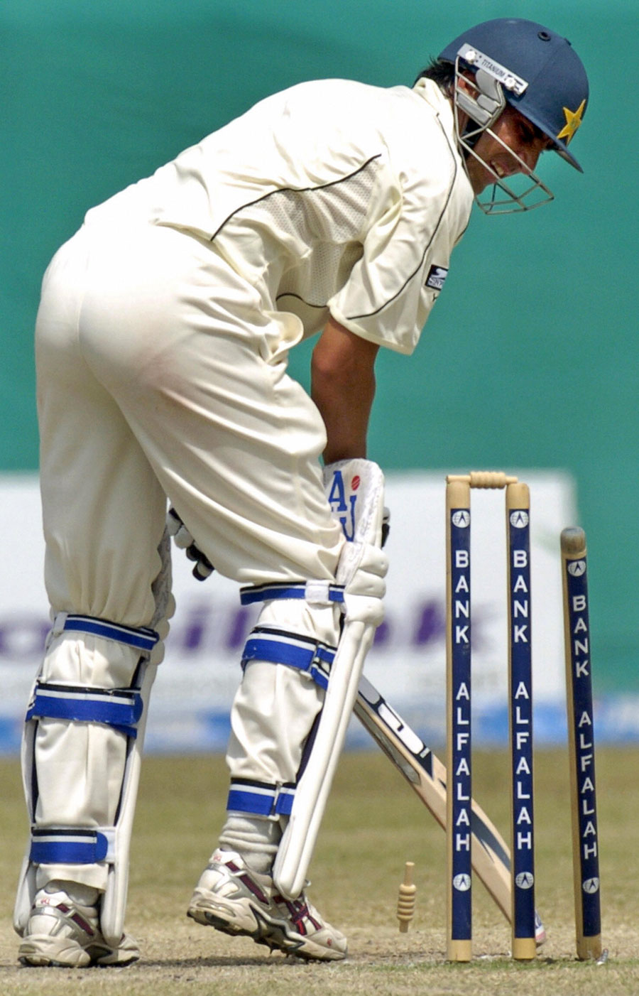 Younis Khan misses the line and is bowled by Dale Steyn, Pakistan v South Africa, 1st Test, Karachi, 5th day, October 5, 2007