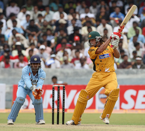 Andrew Symonds plays one off the back foot, India v Australia, 3rd ODI, Hyderabad, October 5, 2007