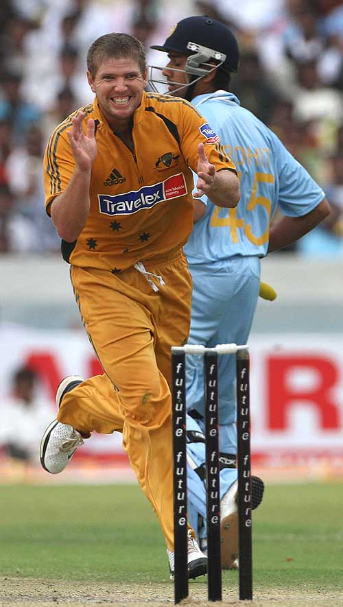 James Hopes is delighted after dismissing Rohit Sharma for 1, India v Australia, 3rd ODI, Hyderabad, October 5, 2007