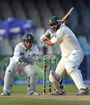 Inzamam-ul-Haq gets in position to cut, Pakistan v South Africa, 2nd Test, Lahore, 2nd day, October 9, 2007