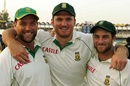 Jacques Kallis, Graeme Smith and Mark Boucher are all smiles after wrapping up the series, Pakistan v South Africa, 2nd Test, Lahore, 5th day, October 12, 2007
