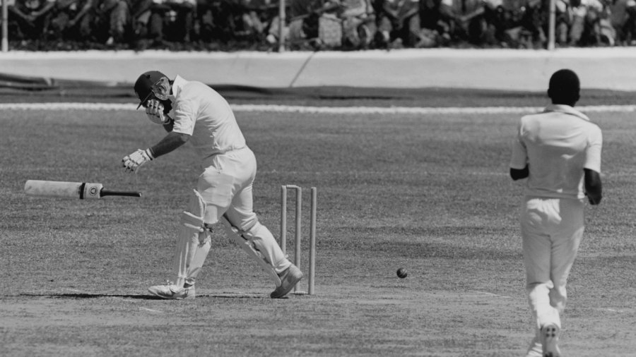 Mike Gatting is hit by a bouncer by Malcolm Marshall
