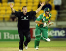 Scott Styris of New Zealand appeals for LBW against Albie Morkel, New Zealand v South Africa, 3rd ODI, Westpac Stadium, Wellington, February 20, 2004