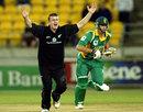 Scott Styris of New Zealand appeals for LBW against Albie Morkel, New Zealand v South Africa, 3rd ODI, Westpac Stadium, Wellington, February 20, 2004