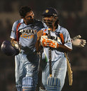 Yuvraj Singh and Mahendra Singh Dhoni walk off after the victory, India v Australia, Twenty20 international, Mumbai, October 20, 2007