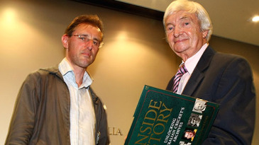 Gideon Haigh and Richie Benaud at the launch of <i>Inside Cricket: Unlocking Australian Cricket's Archives</i>