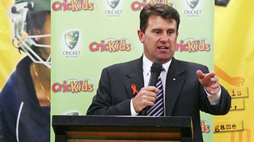 Mark Taylor speaks at a Cricket Australia event