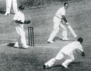 Vic Richardson just fails to catch Herbert Sutcliffe, England v Australia, 2nd Test, Melbourne, December 31, 1932