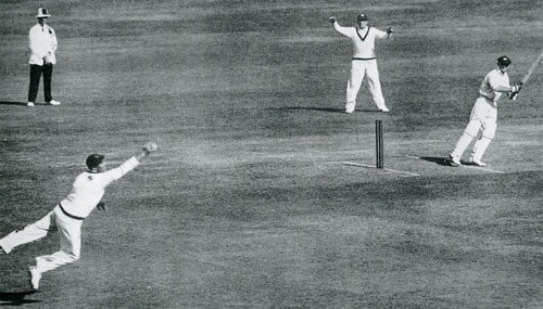 Stan McCabe cuts inches wide of Bill Voce on his way to a brilliant 187 not out