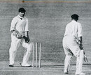 Bill Woodfull is bowled by Tommy Mitchell as Les Ames looks on, Australia v England, 4th Test, Brisbane, February 10, 1933