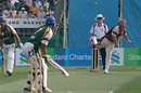 Shane Warne bowls during the Hong Kong Cricket Sixes