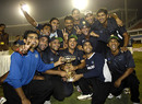 The victorious India Blue team with the trophy, Final, Challenger Trophy, Ahmedabad, October 28, 2007