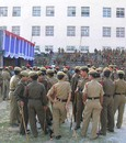 Security guards swarm the Nehru Stadium ahaed of the first one-dayer, Guwahati, November 3, 2007