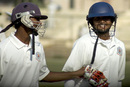 B Sumanth and Hemal Watekar take a break during their partnership, Punjab v Andhra, Ranji Trophy Super League, Group B, 1st round, 1st day, Amritsar, November 3, 2007