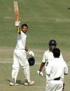 Hemal Watekar raises his bat after scoring his second century of the match, Punjab v Andhra, Ranji Trophy Super League, Group B, 1st round, 4th day, Amritsar, November 6, 2007