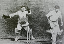 George Duckworth barks an appeal against Don Bradman