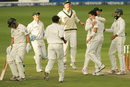 Dale Steyn is mobbed by his team-mates after dismissing Craig Cummings