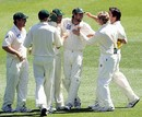 The Tasmanian team celebrate the wicket of Nick Jewell, Victoria v Tasmania, Pura Cup, Melbourne, November 10, 2007