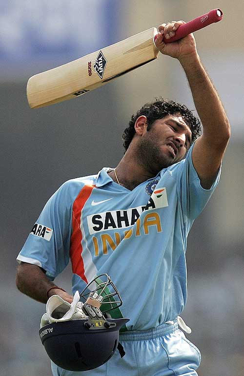 Yuvraj Singh walks back after being caught in the deep, India v Pakistan, 3rd ODI, Kanpur, November 11, 2007