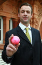 MCC head of cricket John Stephenson and a new prototype pink ball, London, November 13, 2007