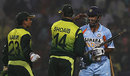 Shoaib Akhtar and Kamran Akmal congratulate Mahendra Singh Dhoni on India's series win, November 15, 2007