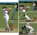 A collage of Craig Cumming when he was floored by Dale Steyn
