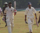 Sreekumar Nair and Vinan Nair walk off the field after Kerala declared their first innings on 566 for 6, Kerala v Services, Ranji Trophy Plate League, Group A, 2nd round, 2nd day, Palakkad, November 16, 2007