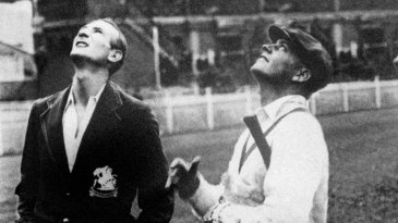 Douglas Jardine and Bill Woodfull toss ahead of the fiery Adelaide Test
