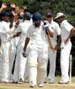 The Mumbai players celebrate the wicket of R Srinivasan, Tamil Nadu v Mumbai, Ranji Trophy Super League, 2nd round, Group A, 3rd day, November 17, 2007