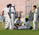 Injured Hyderabad opener Daniel Manohar gets treatment, Punjab v Hyderabad, Ranji Super League, 2nd round, Mohali, 3rd day, November 17, 2007