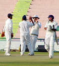 Punjab celebrate after Birinder Singh bowled Anoop Pai for 2, Punjab v Hyderabad, Ranji Super League, 2nd round, Mohali, 3rd day, November 17, 2007