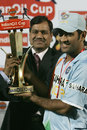 Mahendra Singh Dhoni lifts the trophy after India won the series 3-2, India v Pakistan, 5th ODI, Jaipur, November 18, 2007