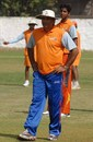Rajesh Chauhan, the former India offspinner, oversees a practice session
