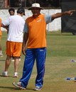 Rajesh Chauhan shouts out instructions during a practice session of the Mumbai Champs, Mumbai, November 19, 2007