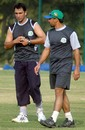 Azhar Mahmood and Moin Khan, the coach of Hyderabad Heroes, take part in an ICL training camp, November 20, 2007
