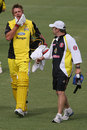 Matt Johnston leaves the field with a broken jaw after being hit by a wayward throw, South Australia v Western Australia, FR Cup, Adelaide, November 21, 2007