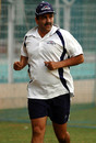 Manoj Prabhakar, Delhi's bowling coach, jogs during a practice session at the Wankhede Stadium ahead of the Ranji Trophy tie against Mumbai, November 21, 2007
