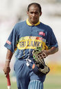 Sanath Jayasuriya heads back to the pavilion after his blistering 82 from 44 balls