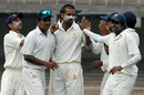 NC Aiyappa and his team-mates celebrate the fall of M Vijay for 32, Tamil Nadu v Karnataka, Ranji Trophy Super League, Group A, 3rd round, Chennai, 1st day, November 23, 2007