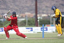 Danish batsman Johan Malcolm-Hansen hits out, Denmark v Uganda, World Cricket League Division Two, Windhoek, November 27, 2007
