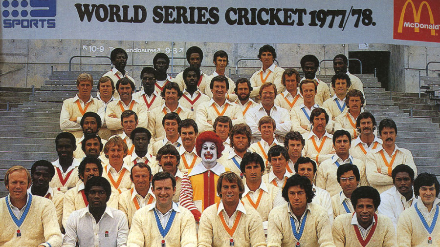World Series Cricket signings pose - with a fast-food clown - at the launch of Kerry Packer's venture