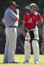 David Graveney and Michael Vaughan chat in the nets, Kandy, November 29, 2007