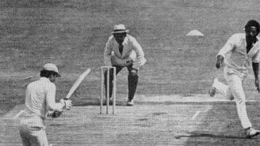Greg Chappell is bowled by Andy Roberts for 0